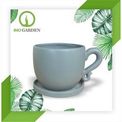 Chậu cây cảnh bằng gốm hình ly trà